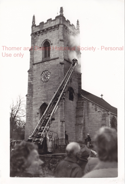Fire in St Peter's Bell Tower, Ash Wednesday - 1987 -  - adlb_0192